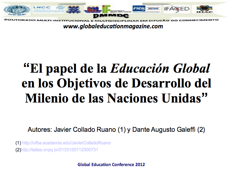 The role of Global Education in the Millennium Development Goals of the United Nations, Educar para Vivir